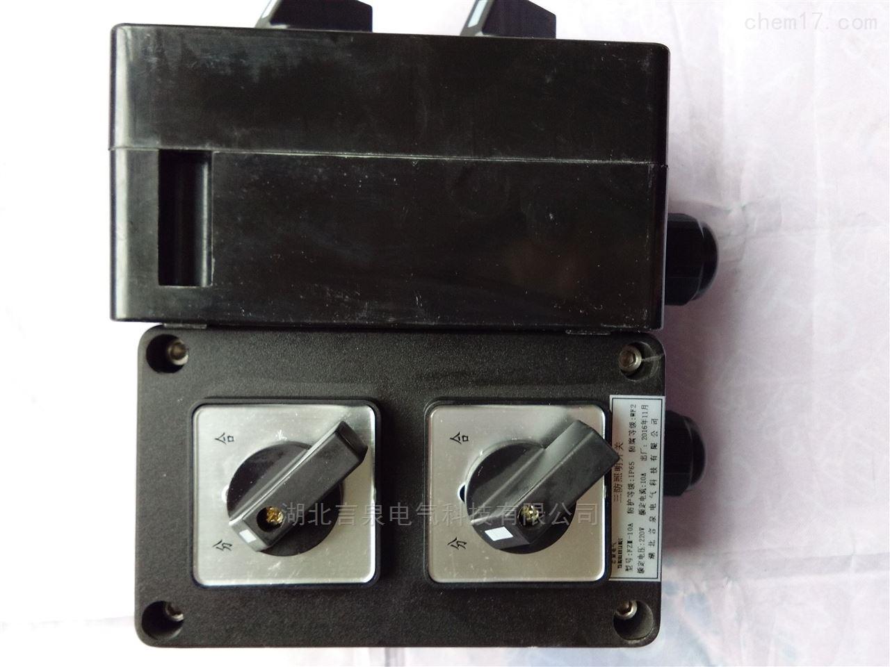 化工厂明装250V单控双联三防照明开关