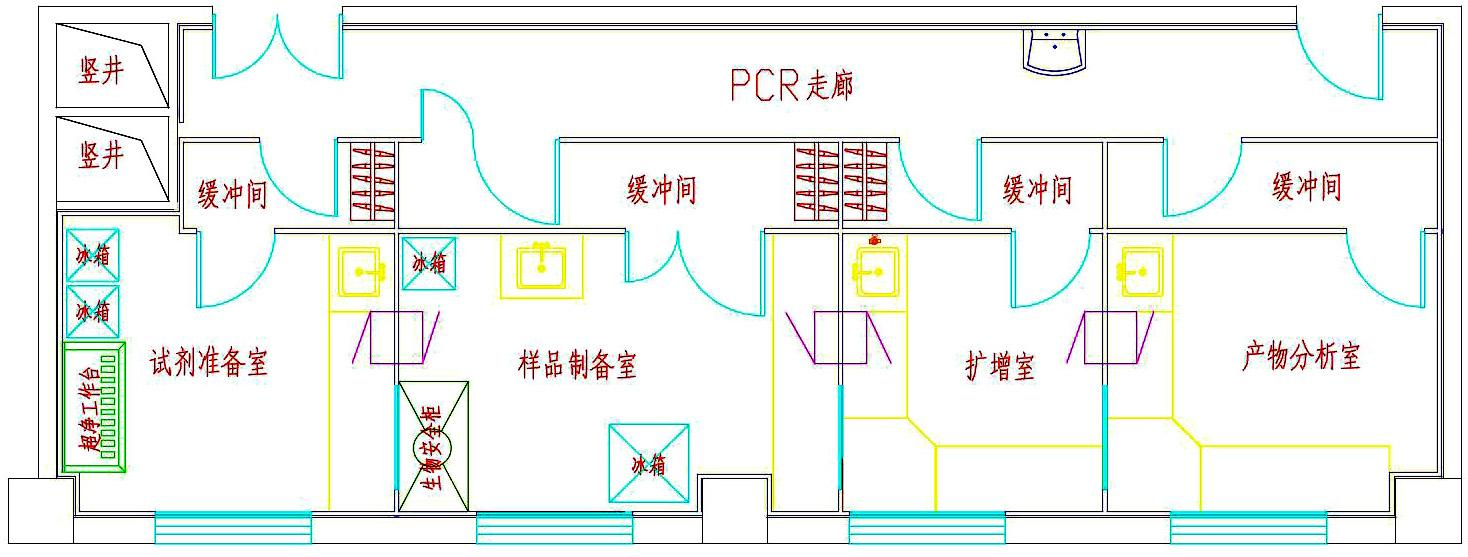 PCR实验室门的设计_PCR实验室要求_云南PCR实验室_广州环扬实验室系统科技有限公司_实验台厂家_通风柜