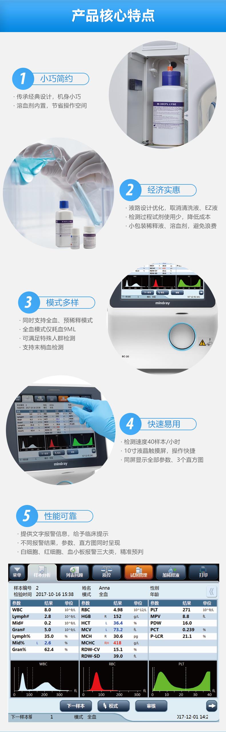 <strong>迈瑞全自动三分类血液分析仪</strong>小巧简约 经济适用